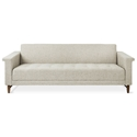 Harbord Mid Century Modern Style Sofa in Leaside Driftwood Fabric Upholstery with Walnut Wood Base