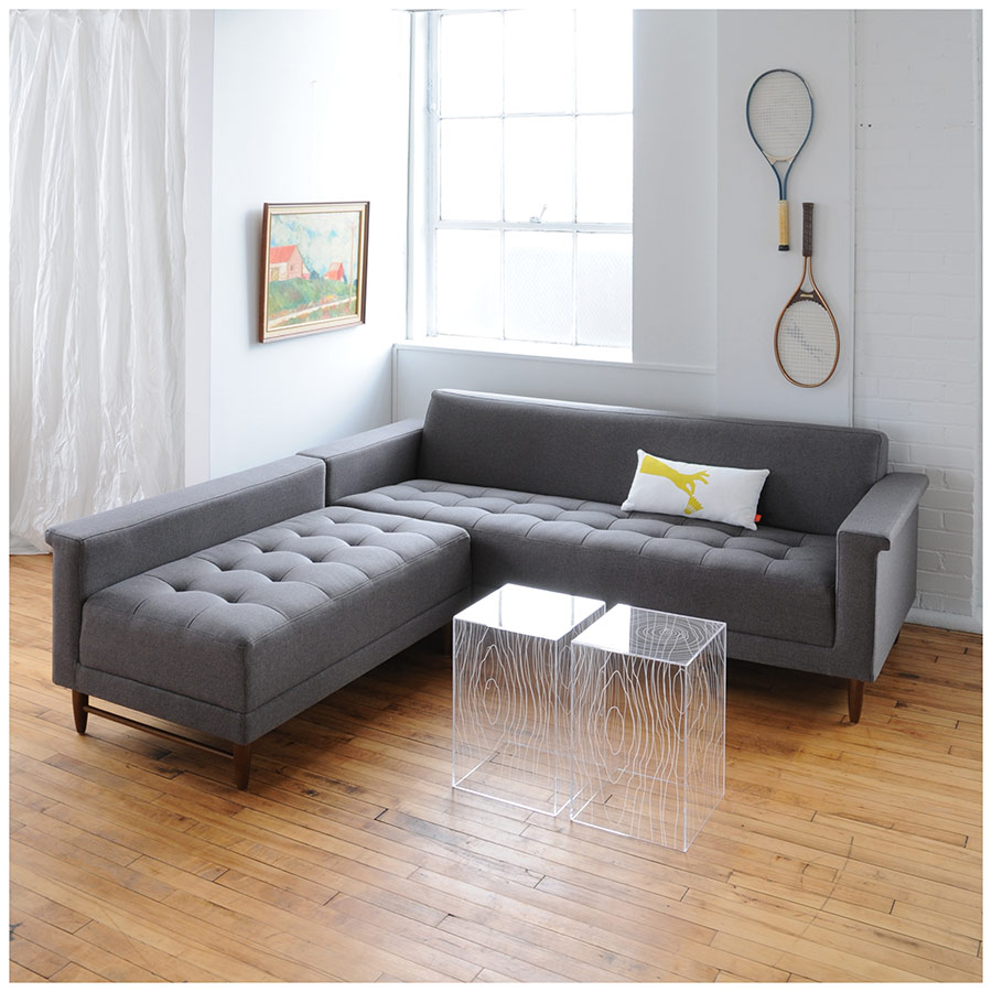 Contemporary Sectional: Gus Modern Harbord LOFT Bi-Sectional Storm