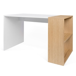 Harbour Oak + White Modern Desk With Shelves