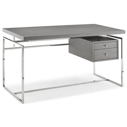 Harlow Modern Gray Desk w/ Drawers by Whiteline