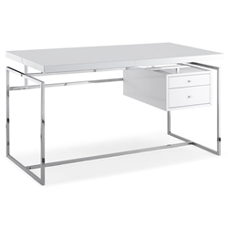 Harlow Modern White Desk w/ Drawers by Whiteline