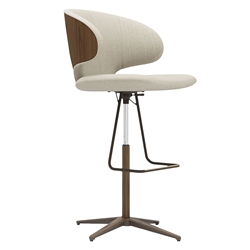 Modloft Black Harper Modern Adjustable Height Stool in Oxford Tan Fabric + Walnut