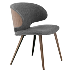 Modloft Black Harper Modern Dining Chair in Castlerock Gray Fabric with Walnut Wood