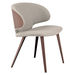 Modloft Black Harper Modern Dining Chair in Oxford Tan Fabric with Walnut Wood