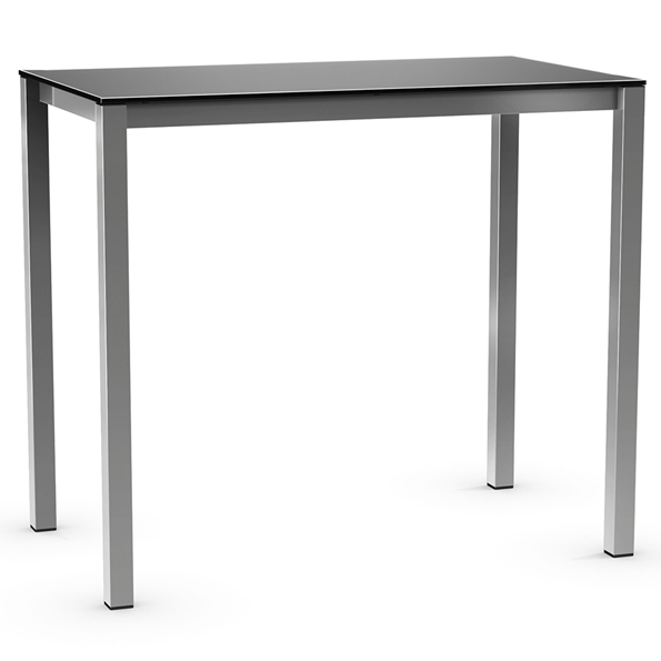 Harrison Modern Bar Table - Black Glass + Magnetite by Amisco