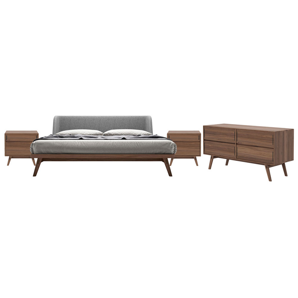 Modloft Haru Contemporary Bedroom Set in Walnut
