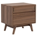 Modloft Haru Walnut Contemporary Nightstand - Front
