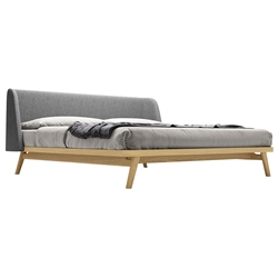 Modloft Haru Modern Platform Bed in Natural Oak Wood and Gray Andorra Wool