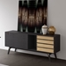 Modloft Haru Black Oak Wood Modern Sideboard - Room Setting, Drawer Fronts Reversed