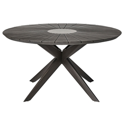 Modloft Helios Modern Indoor + Outdoor Dining Table in Dark Eucalyptus