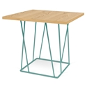 Helix Oak Top + Green Base Modern End Table