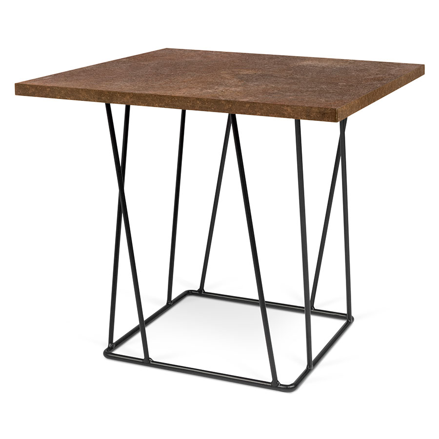 Helix Rust Top + Black Base Modern End Table