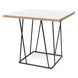 Helix White Top + Black Base Square Modern End Table