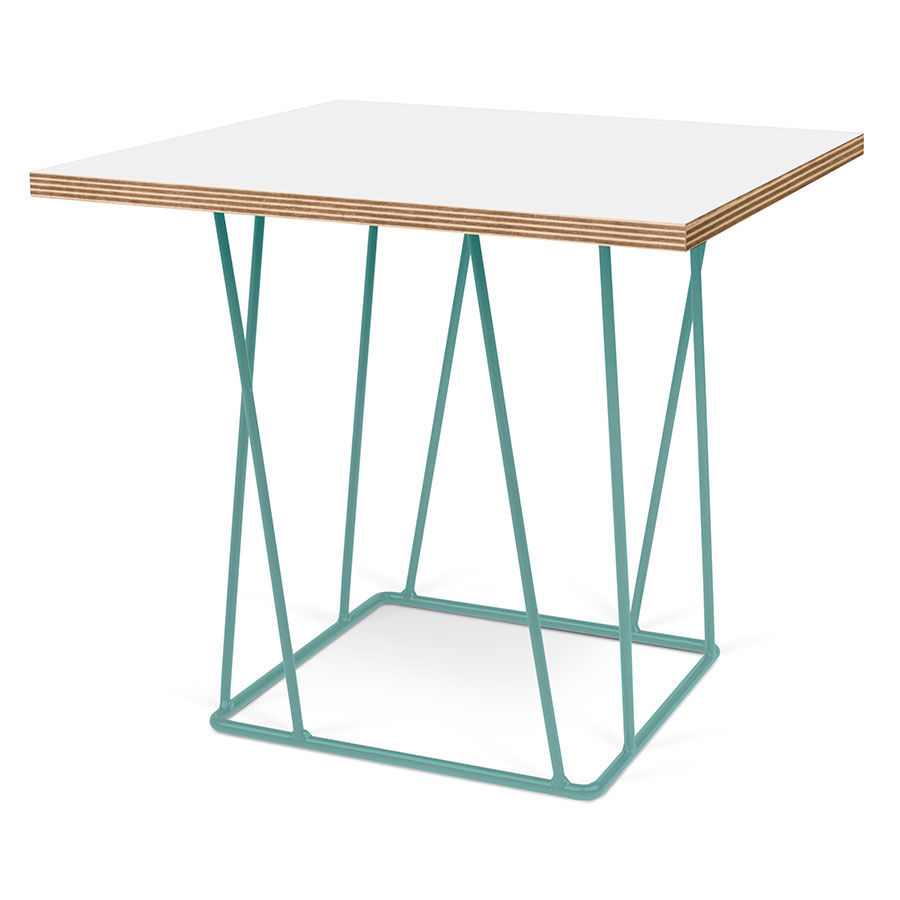 Helix White Top + Green Metal Base Square Modern End Table