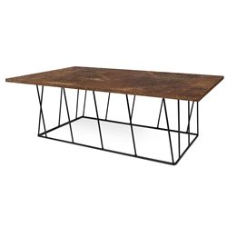 Helix Rust + Black Modern Rectangular Coffee Table