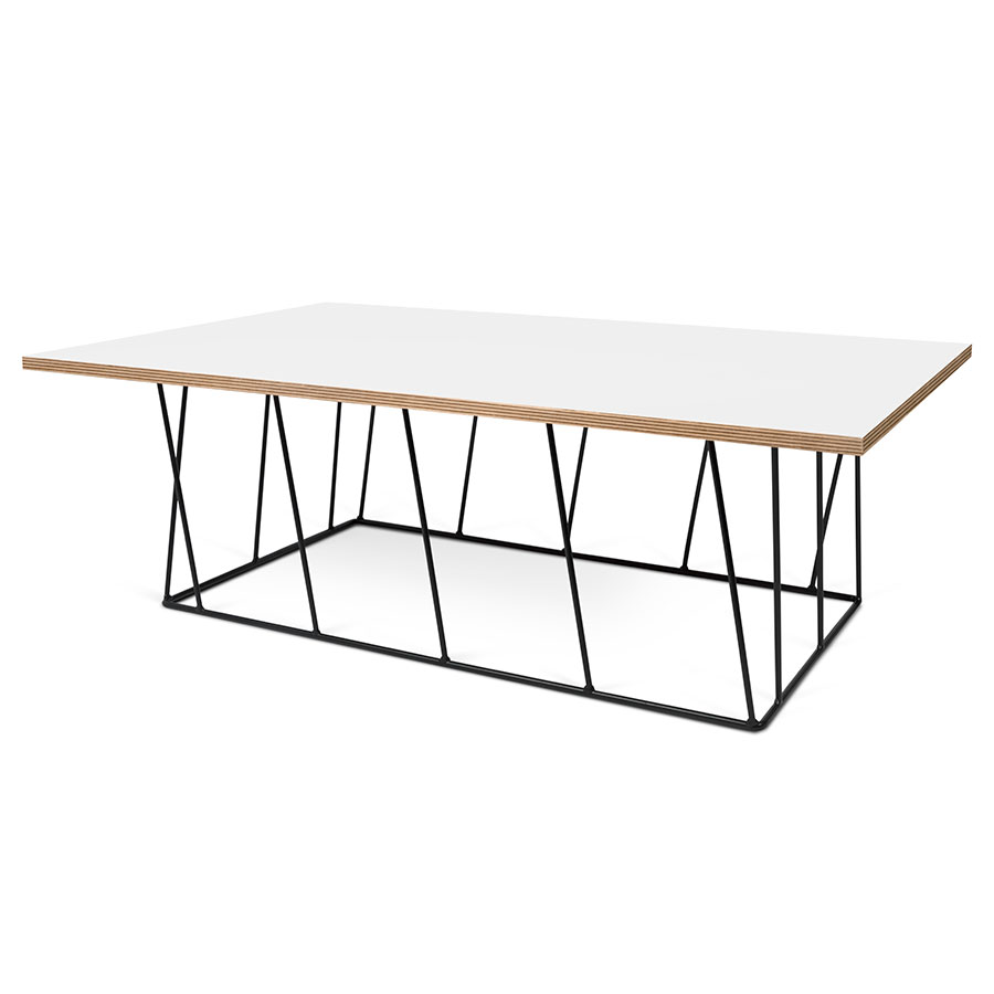 Helix White / Ply Honeycomb Panel + Black Metal Modern Rectangular Coffee Table