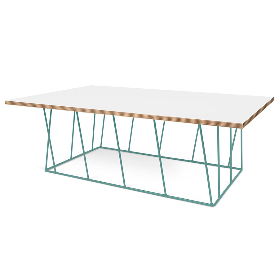 Helix White / Ply Honeycomb Panel + Green Metal Contemporary Rectangular Coffee Table