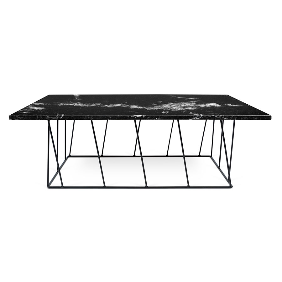 ... Helix Black Marble + Metal Contemporary Coffee Table