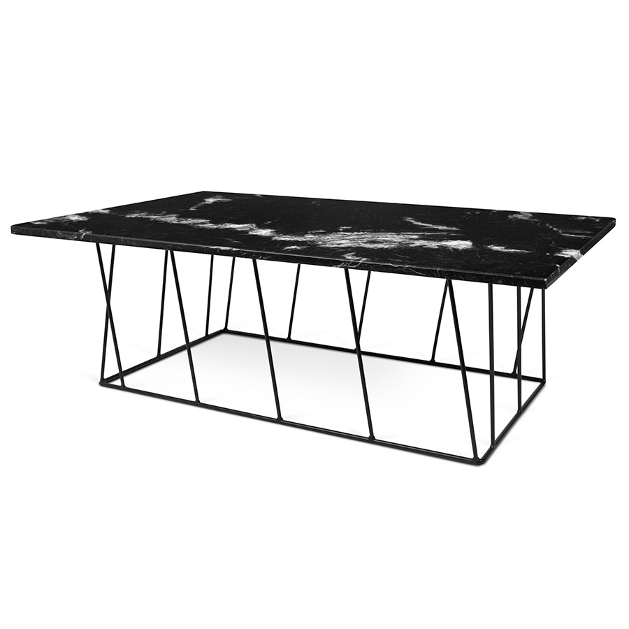 Helix black rectangle marble modern coffee table eurway helix black marble metal modern coffee table geotapseo Images
