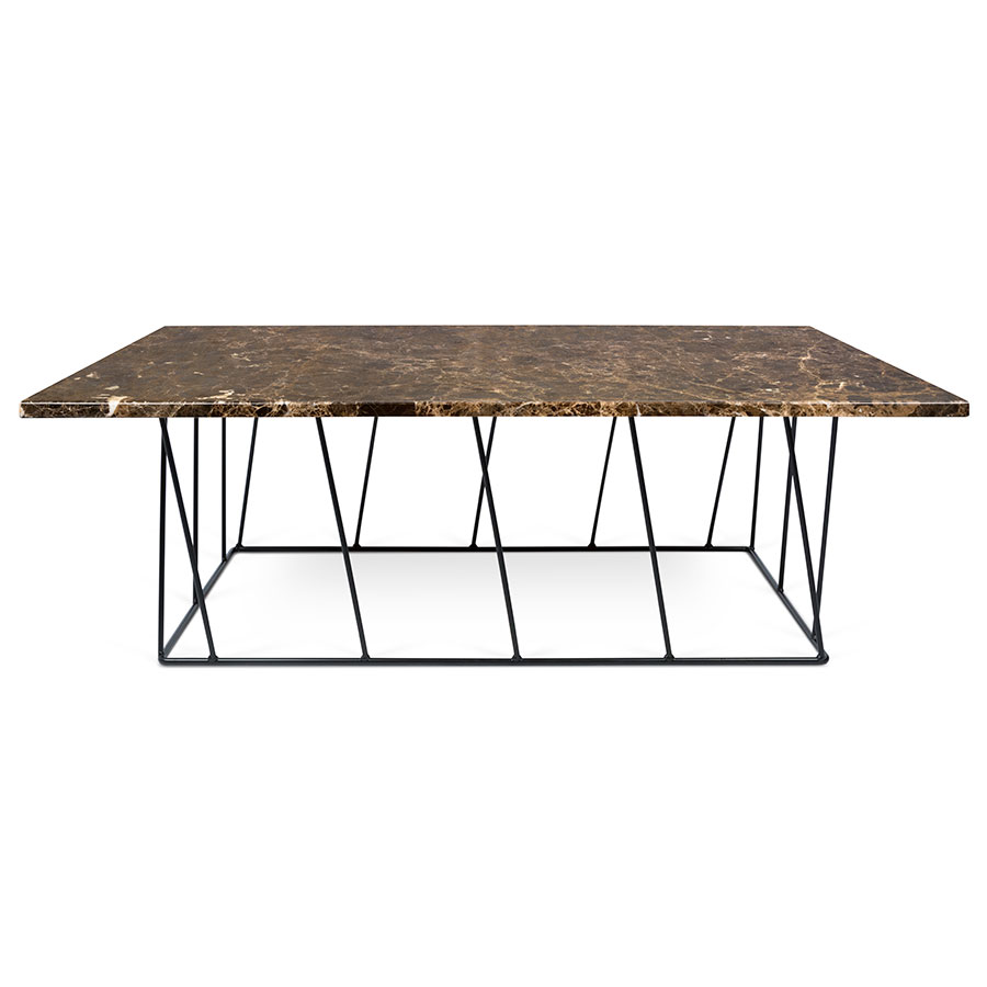 Helix Brown Black Long Marble Coffee Table By Temahome