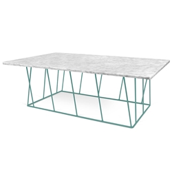Helix White Marble + Green Metal Modern Rectangular Coffee Table