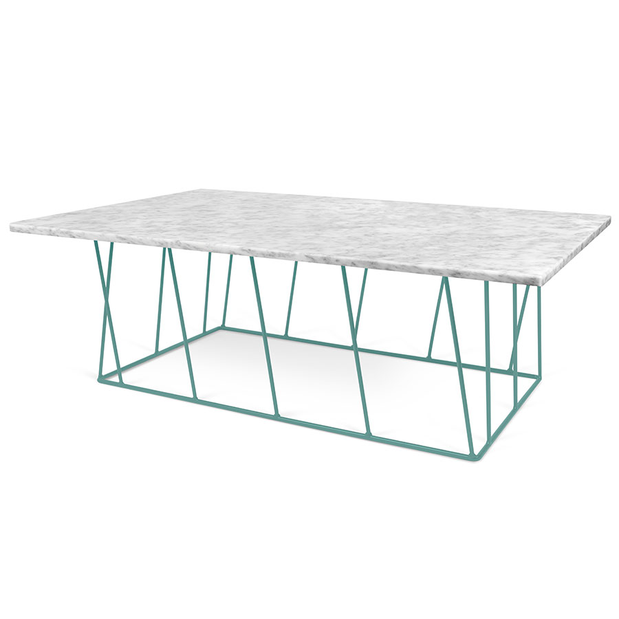 TemaHome Helix White Green Long Marble Modern Coffee Table Eurway - Long marble coffee table