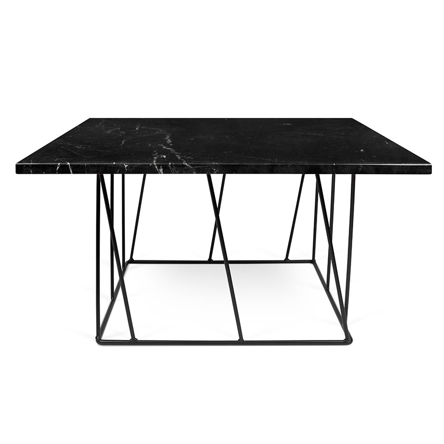 Helix Black Marble Metal Square Contemporary Coffee Table