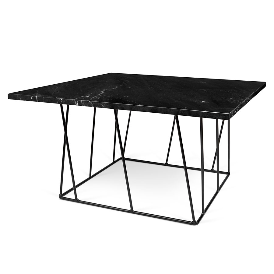 Helix Green Marble Black Metal Square Modern Coffee Table