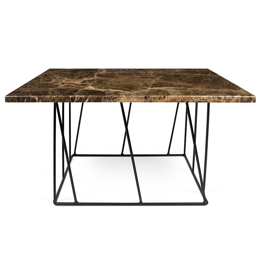 Helix Brown Marble Black Metal Square Contemporary Coffee Table