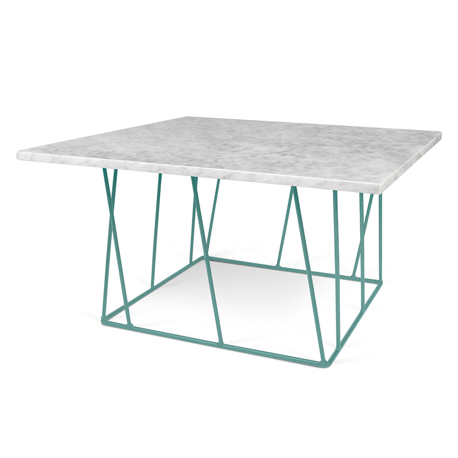 Helix White Marble Green Metal Square Modern Coffee Table