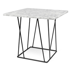 Helix White Marble Top + Black Metal Base Modern End Table