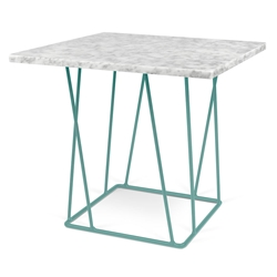 Helix White Marble Top + Green Metal Base Modern End Table
