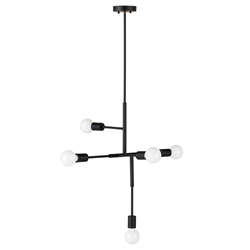 Hendrix Matte Black Steel 5-Bulb Modern Hanging Lamp by Nuevo