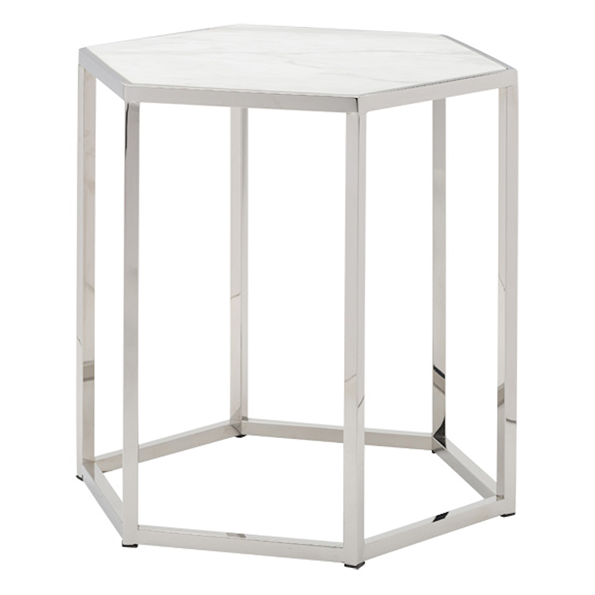 Hexion White Marble + Polished Steel Modern End Table