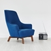 Gus* Modern Hilary Contemporary Chair in Blue Stockholm Cobalt Fabric Upholstery With Angled Wood Base