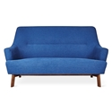 Gus* Modern Hilary Loft Sofa in Stockholm Cobalt Fabric Upholstery With Splayed Solid Wood Legs