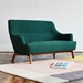 Gus* Modern Hilary LOFT Sofa in Green Stockholm Juniper Fabric Upholstery with Walnut Wood Base