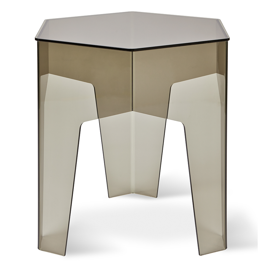 Gus modern hive end table in smoked acrylic eurway for Modern hive
