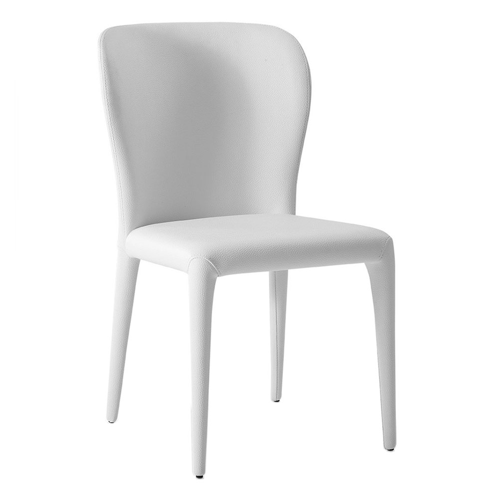 Hondo White Faux Leather Fully Upholstered Modern Dining Side Chair