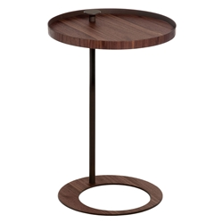 Modloft Black Horatio Modern Side Table in Walnut + Black