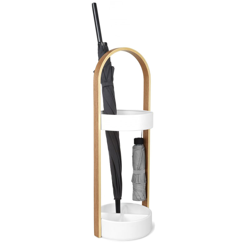 Hub White + Natural Modern Umbrella Stand by Umbra