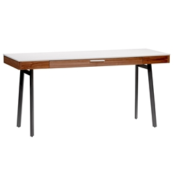 Hugo Modern Walnut White Desk with Drawer by Euro Style
