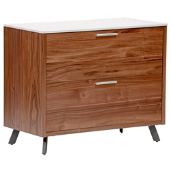 Hugo Modern Walnut + White Lateral File Cabinet