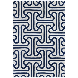 Iconic 5x8 Rug in Blue and Cream
