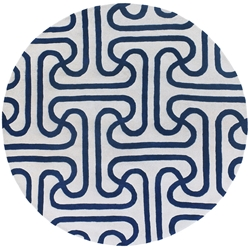 Iconic Round Rug in Blue and Cream