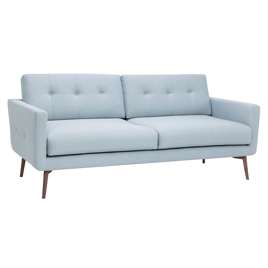 Israel Caribbean Blue Fabric + Walnut Stained Ash Wood Modern Sofa