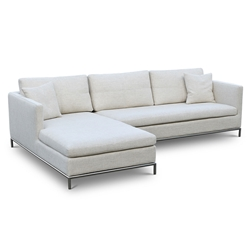 Istanbul Modern Left Facing Chaise Sectional Cream Tweed