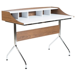 Ilnur 48 Inch Modern Walnut + White Desk