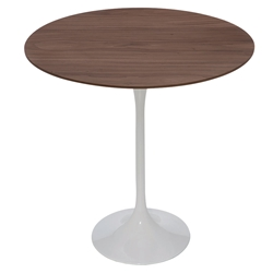 Jacob White Steel + Walnut Wood Round Modern Side Table