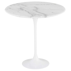 Jacob White Steel + White Marble Round Modern Side Table